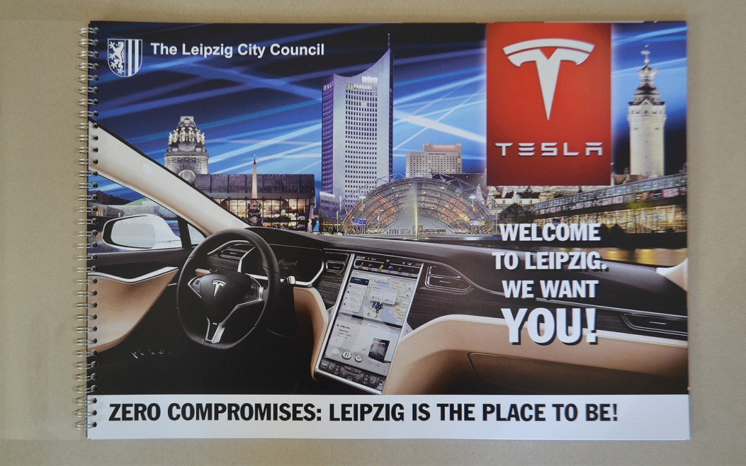 Standortwerbung Wirtschaftsförderung Leipzig für Tesla Motors