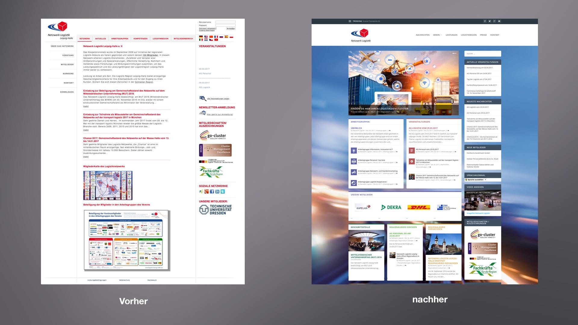 Netzwerk Logistik Vorher-Nachher: Relaunch des Internetauftrittes logistik-leipzig-halle.net