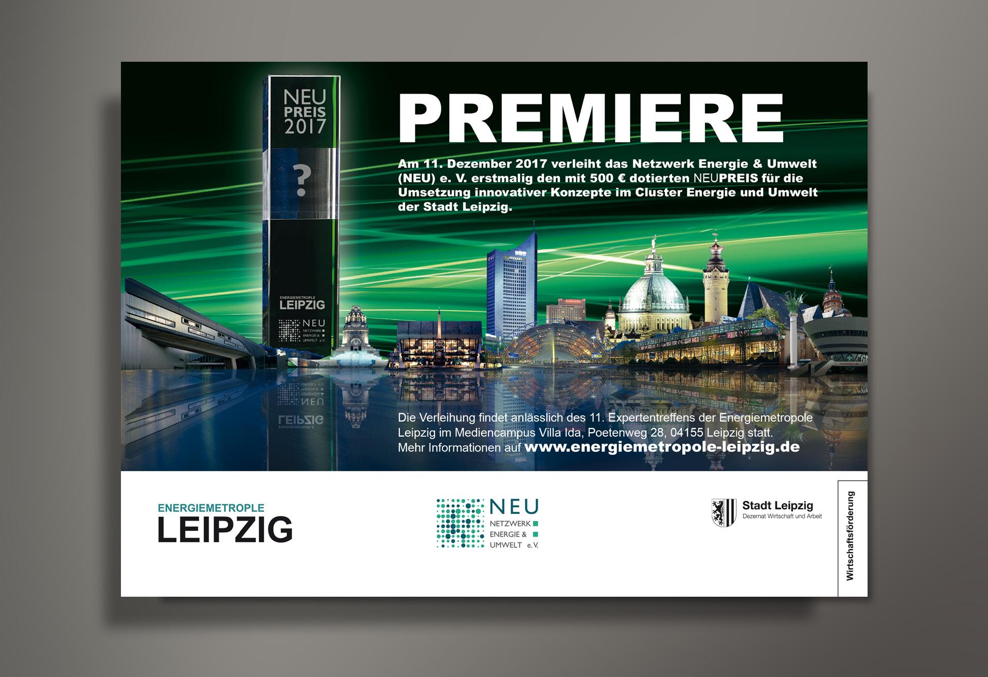 Anzeige NEUPREIS Premiere des Netzwerk Energie / Umwelt (NEU) e. V., Reichelt Kommunikationsberatung